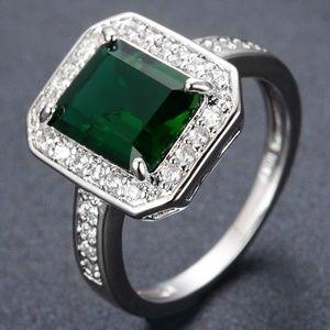 Jewelry - Cushion Cut Green Emerald CZ White Gold Ring